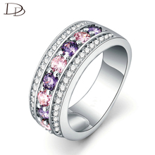round 925 sterling silver rings for women purple & pink rhinestone anies wedding jewelry engagement ring fashion bague DD135
