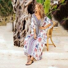 2019 Summer Beach Long Section Smock Europe Nice Fashion Chiffon Robes Printed Loose V-neck Bat Sleeve Dress slip dress and bell sleeve chiffon beach smock dress twinset
