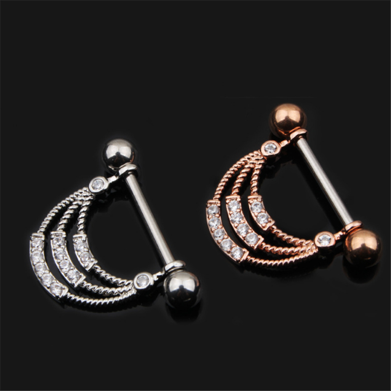 2PCS Fashion Dangle Nipple Rings Stainless Steel Women Gold Silver Bar Barbell Piercing Nipple Rings Body Jewelry Christmas Gift