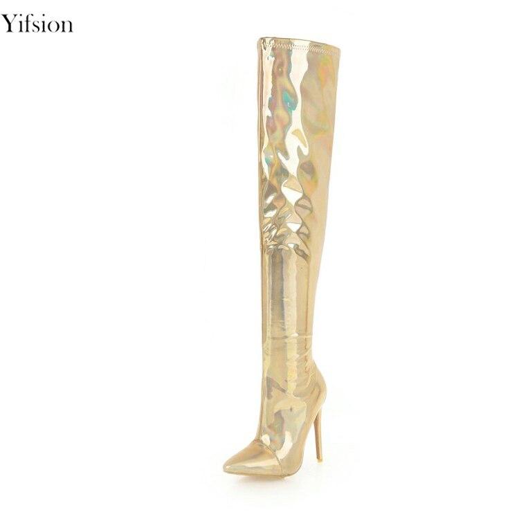 Gold Taille Yifsion Or Club Pointu Genou Magnifique Mince Chaussures Femmes Argent 16 Sur D0312 Le Nouvelles Nous Night Sexy Bottes Bout Silver d0312 Talons 3 AxUArBq