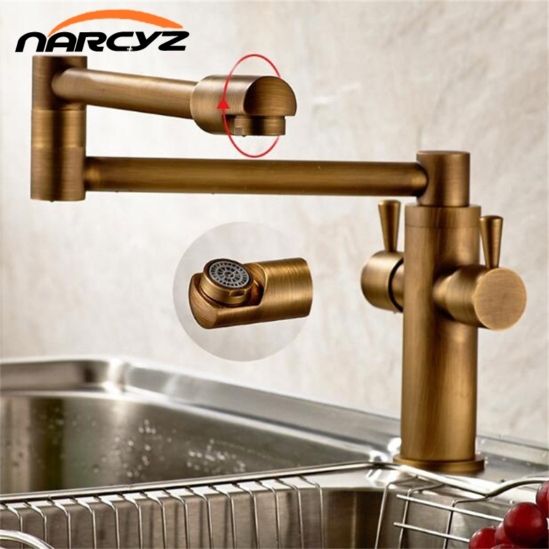 Free shipping New style Black Bronze copper folding kitchen faucet double handles for cold and hot
