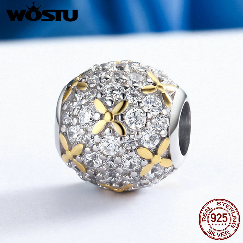 WOSTU Luxury 925 Sterling Silver Dazzling Full-Bloom Beads Fit Original Charm Bracelet DIY Jewelry Gift FIC154