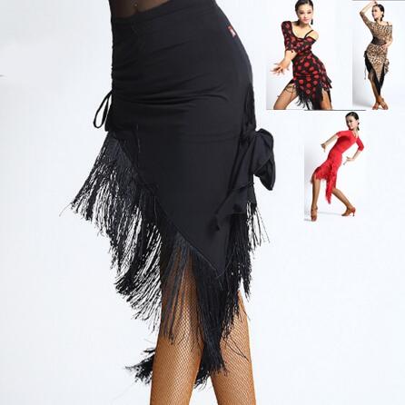 Для женщин Костюмы для бальных танцев юбка черный, красный Samba Сальса Костюмы для латиноамериканских танцев Tango платье для танцев юбка неравный Fringe Костюмы для бальных танцев танцевальная Юбки для женщин