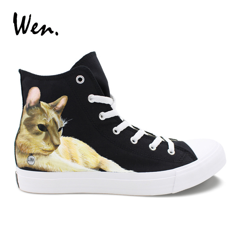 Wen Custom Hand Painted Shoes Pet Cat Canvas Sneakers Women High Top Men Plimsolls Black Espadrilles Flat Cross Straps Trainers