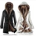 Faux fur forro de mulheres fur Hoodies das Senhoras casacos de inverno quente longas roupas de algodão jaqueta casaco parkas térmicas