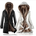 Faux fur lining women's fur Hoodies Ladies coats winter warm long coat jacket cotton clothes thermal parkas