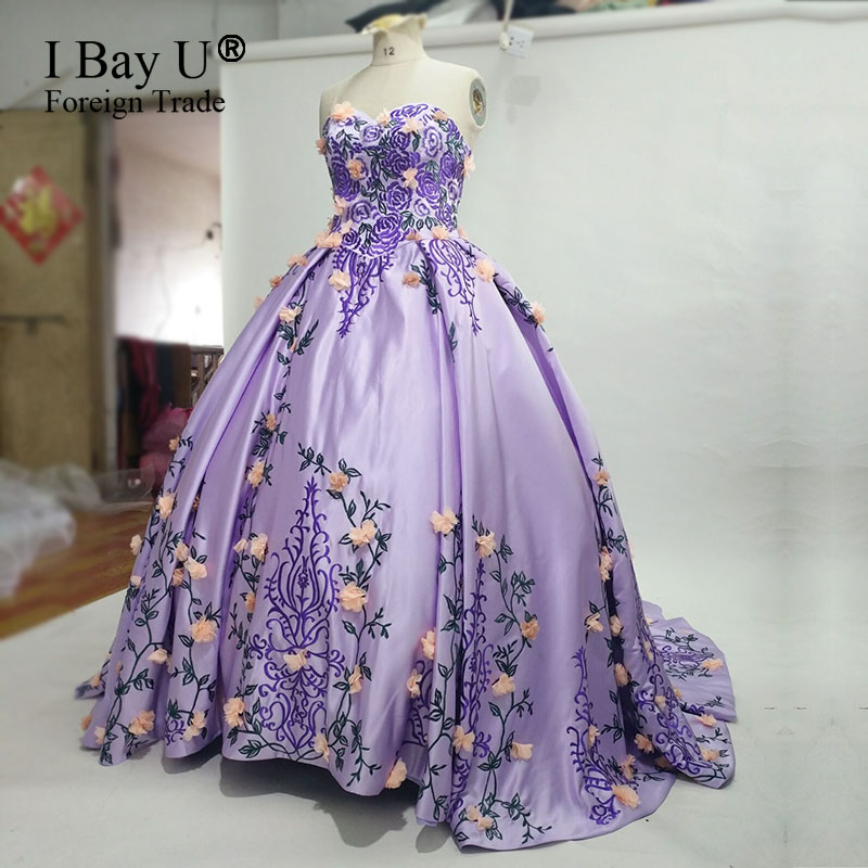 Purple Arabic Vintage Ball Gown Engagement Wedding Gowns