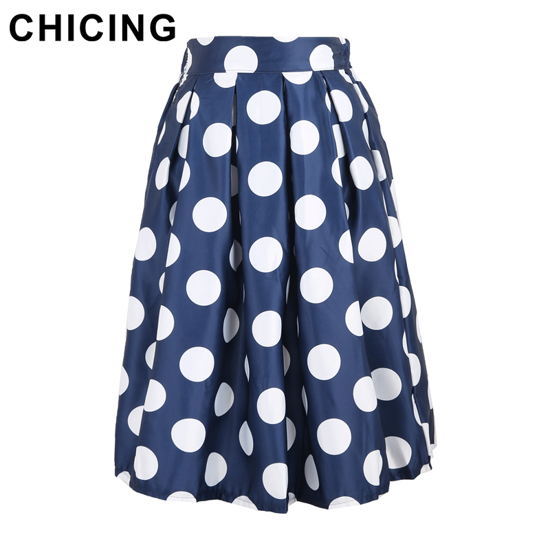 0a795b76ee CHICING 2019 Casual Polka Dots Printed Flared Tutu Circle Pleated Midi  Skater Skirts High Waist Fall Winter Women Saias A148024-in Skirts from  Women's ...