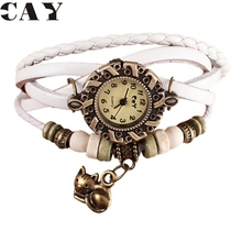 Superior Quartz Weave Around Leather Cat Pattern Bracelet Woman Wrist Watch June