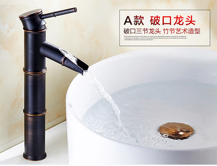 British 100% copper faucet antique bamboo Continental black hole ...