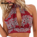 BiLaRyThy Sexy Women Summer Tank Tops Sleeveless Halter V Neck Lace Patchwork Backless Printing Cropped Tops Tees