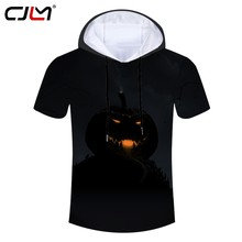 CJLM Halloween New Gothic Men's Spandex Hooded Tshirt 3D Tee Shirt Printed Funny Pumpkin Street Wear T-shirt Recommend(Hong Kong,China)