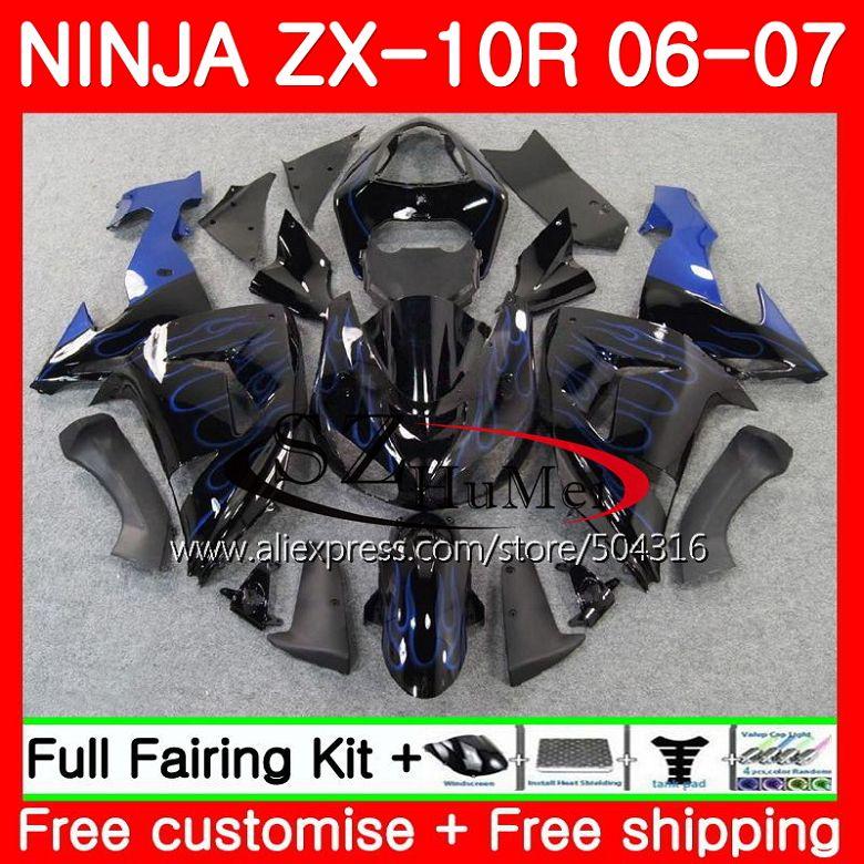 кузов для Kawasaki Ninja синий пламя Zx10r 06 07 Zx1000c 16sh16 Zx