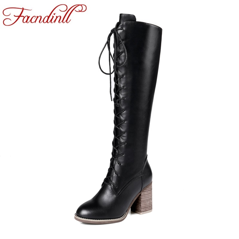 FACNDINLL new genuine leather women autumn winter knee high boots shoes sexy high heels round toe shoes woman black riding boots new women knee high boots black and white sexy low heels pu leather autumn winter shoes round flat platform boots botas mujer