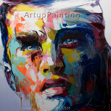 Palette knife painting portrait Face Oil Impasto figure on canvas Hand painted Francoise Nielly 13-6