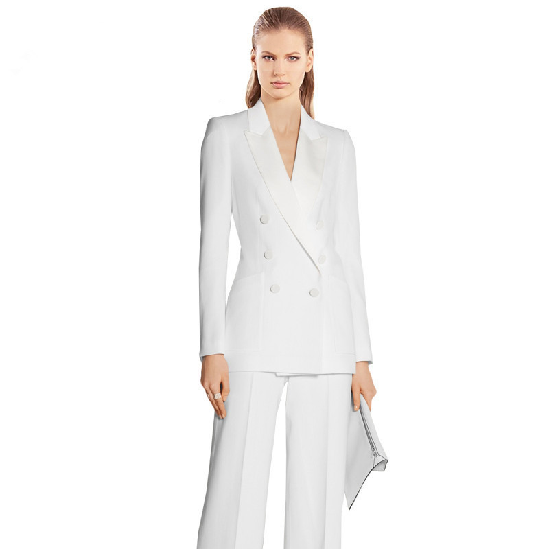 White Work Bussiness Formal Elegant Women Suit Set Blazers And Pants Office Suits Fashion Charming Peaked Lapel Women Suit
