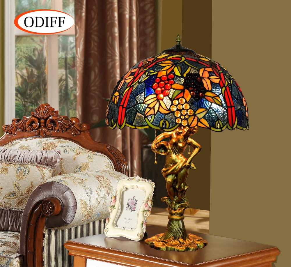 ODIFF European luxury creative garden Stained glass living room Red Grape Table Lamps Ba ...