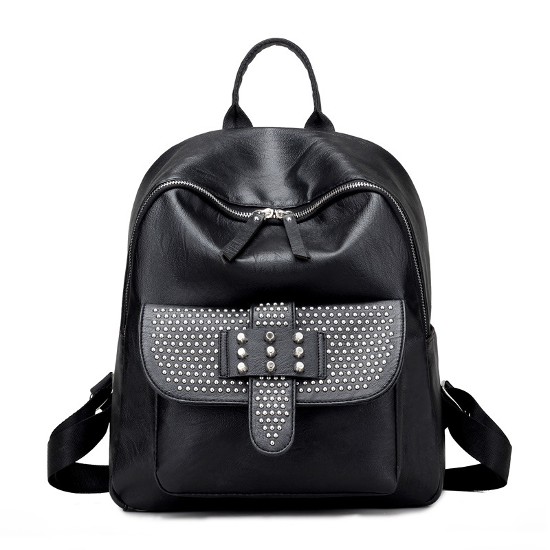 Women Backpack High Quality PU Leather Mochila Escolar School Bags For Teenagers Girls Hip-Hop Puck Rivet Student Package