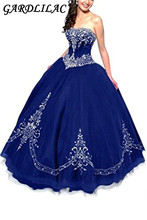 Gardlilac Strapless Ball Gown Embroidered Quinceanera dresses 2017  Tulle Sleeveless