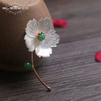 GLSEEVO Luxury Natural Mother Of Pearl Flower Brooch For Women Gift Jade Pendant Brooch Pin Dual Use Fine Jewelry GO0070