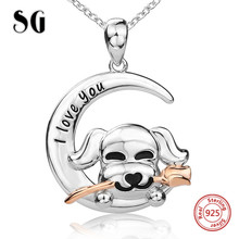 2018 new arrival I love you cute animal puppy dog holding the rose pendant chain necklace diy fashion jewelry making for women