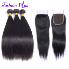 Fashion Plus Brazilian Hair Weave Bundles Straight 3 Bundles With Lace Closure Human Hair Bundles With Closure Natural Color