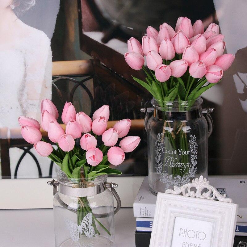 20/30Pcs Tulipas Flores Bouquet Falso Flor Artificial Real Toque de Látex Flores Decore Flor Buquê de Noiva Para O Casamento decoração