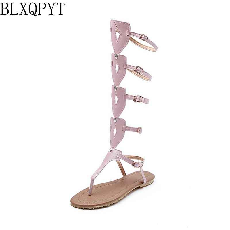 Plus grande taille 34-52 nouveau Bandage femmes sandales bottes plates chaussures d'été femme genou haut gladiateur sapato feminino sandales 1807