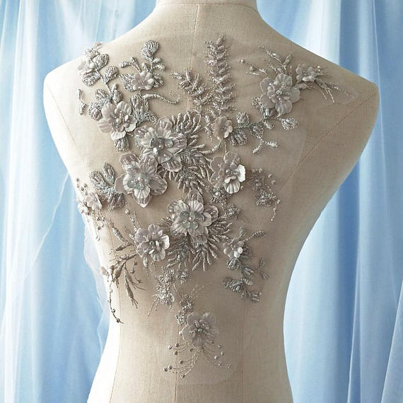 1piece off white heavy bead lace applique, 3D applique with pearls, deluxe 3d flower