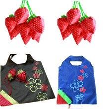 Дешевые новый простой клубника фруктовый зеленый складной удобство хозяйственная сумка складная хранения женщины сумку Bolsa Feminina Оптовая
