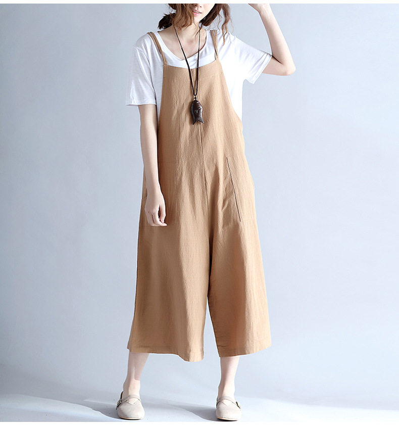 fc0b20bf850 ilstile 2018 Summer Women s Casual Oversized Loose Long Pants Fashion Wide  Leg Jumpsuits Cotton Linen Rompers Trousers Overalls