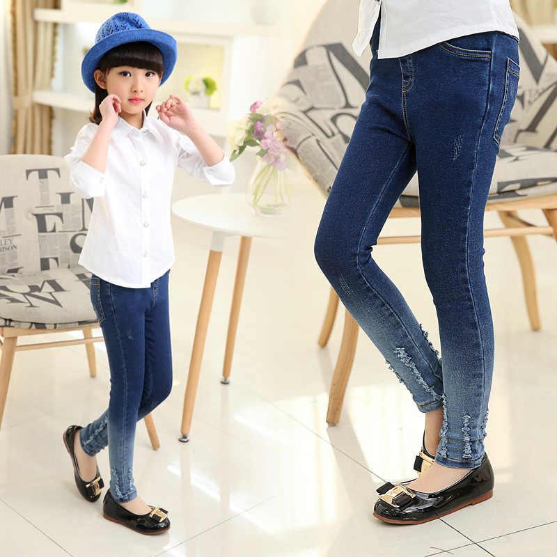 8f52f66d97 ... Girls leggings new 2019 autumn kids jeans gradient ultra girls elastic  skinny children pencil pants for ...