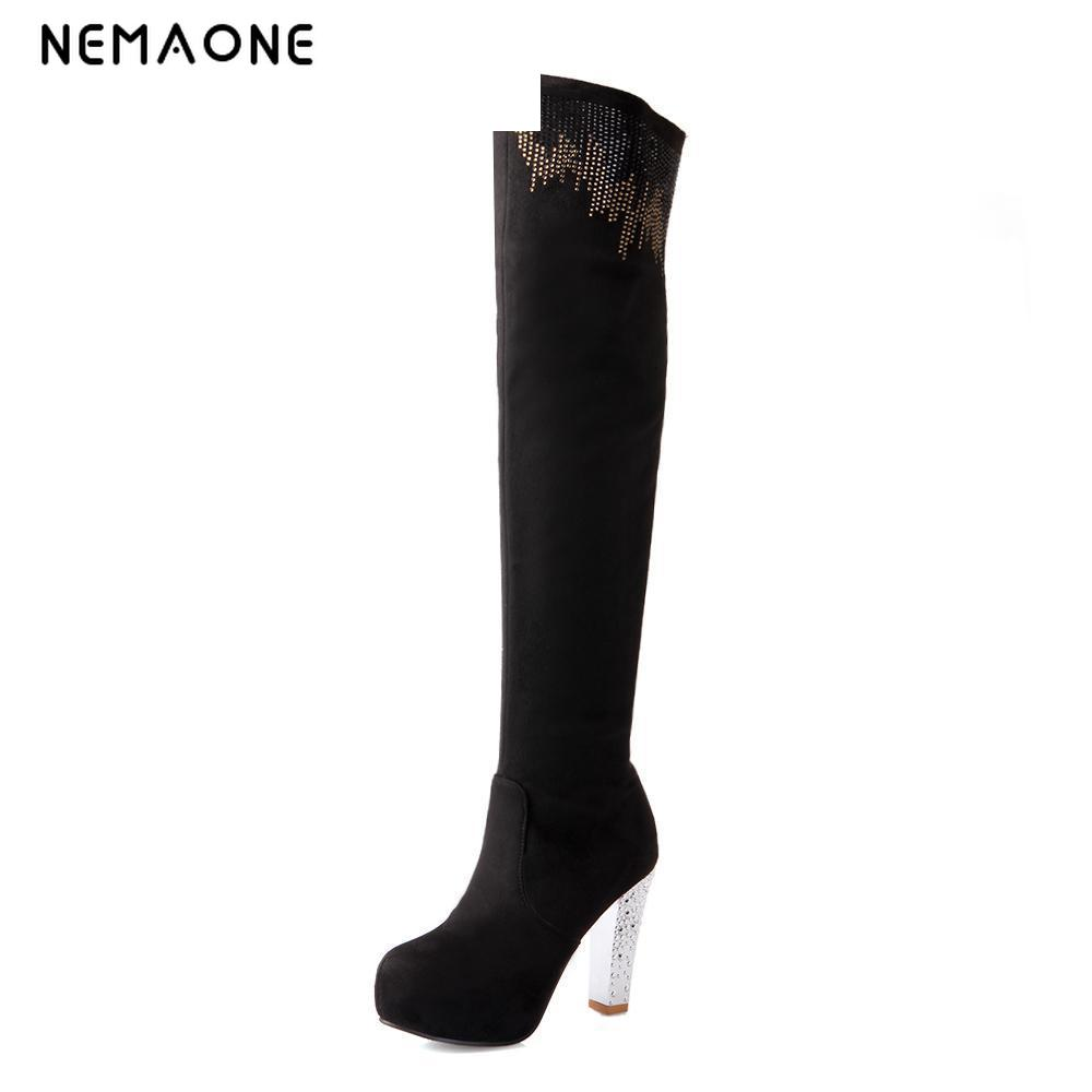 New Women Suede Sexy Fashion Over the Knee Boots Sexy High Heel Boots Platform Woman Shoes Black Blue size 34-43 new women suede sexy fashion over the knee boots sexy high heel boots platform woman shoes black blue size 34 43