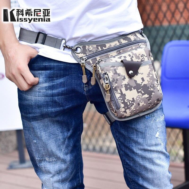 купить Kissyenia Military Canvas Leg Waist Bags Mini Shoulder Crossbody Bags Men Travel Tool kit Riding Leg Pack Bags KS1133 недорого