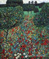 Modern art Poppy Field by Gustav Klimt reproduction paintings Hand painted High quality