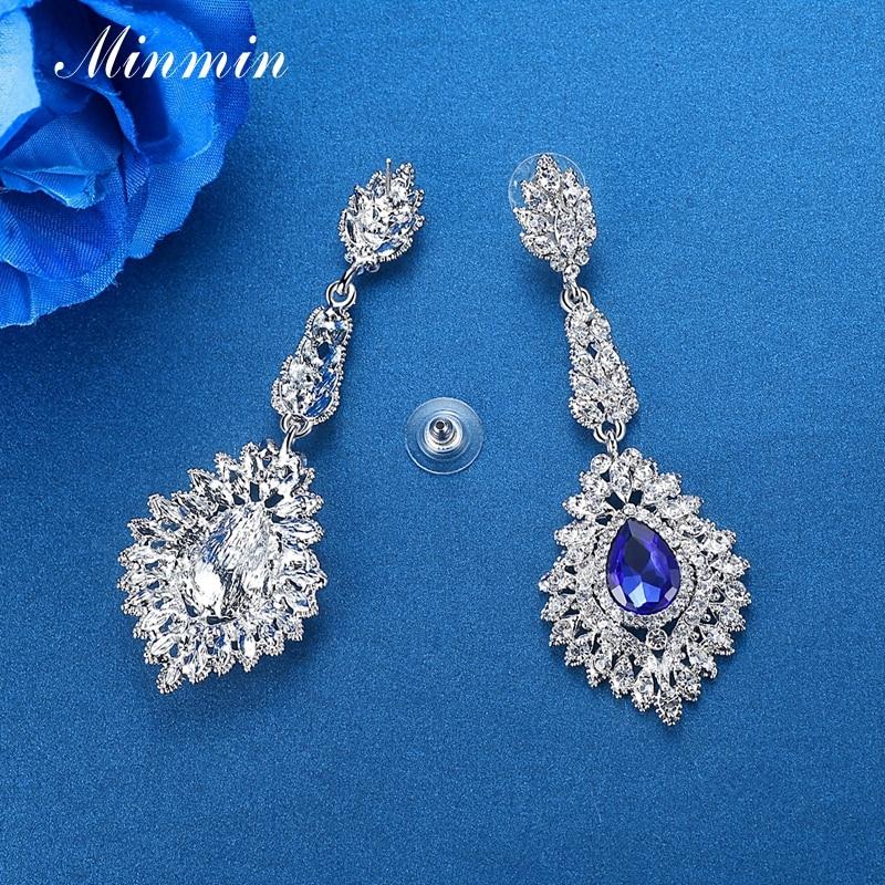 Minmin Mewah Teardrop Crystal Long Drop Earrings Perak Warna - Perhiasan fesyen - Foto 6