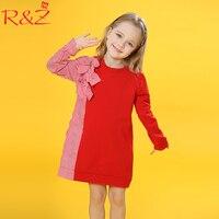 R Z Baby Girls Dress 2018 Big Girls Dress Children S Bow Tie Stitching Striped Shirt