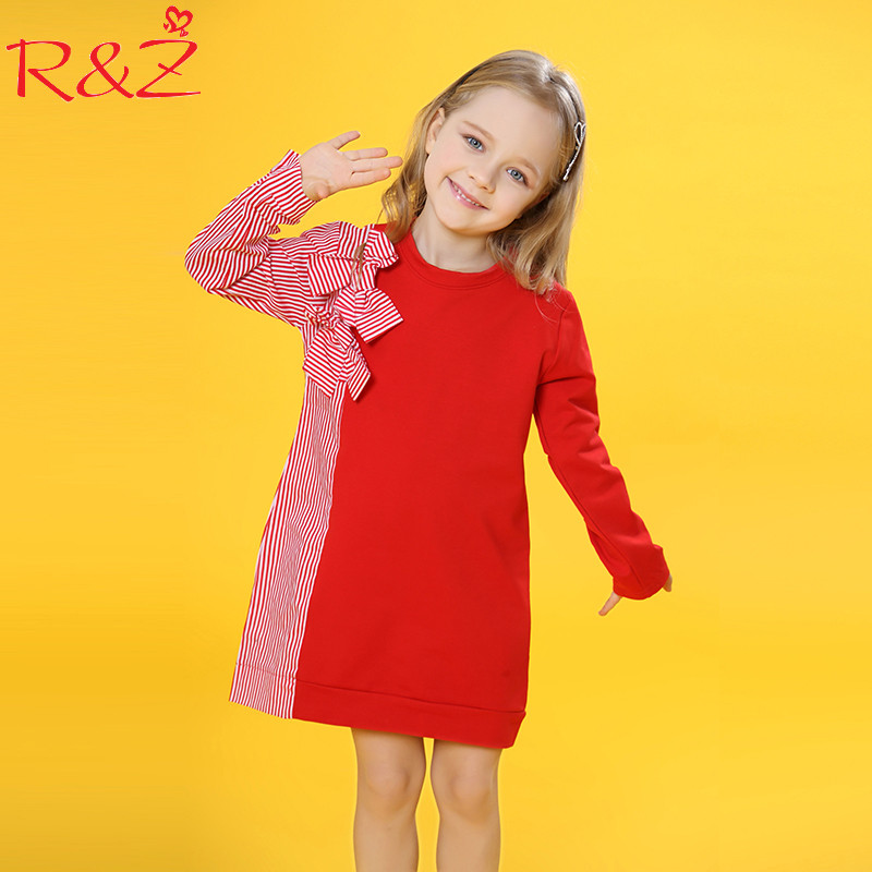 R Z font b Baby b font Girls Dress 2018 Big Girls Dress Children s Bow