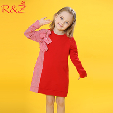 R&Z Baby Girls Dress 2018 Big Girls Dress Children's Bow Tie Stitching Striped Shirt Long Sleeve Dresses Kids Cute Clothes Dress
