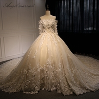 Robe De Mariage 2015 Off The Shoulder Lace Islamic Wedding Dress Ball Gown Long Sleeve Bridal