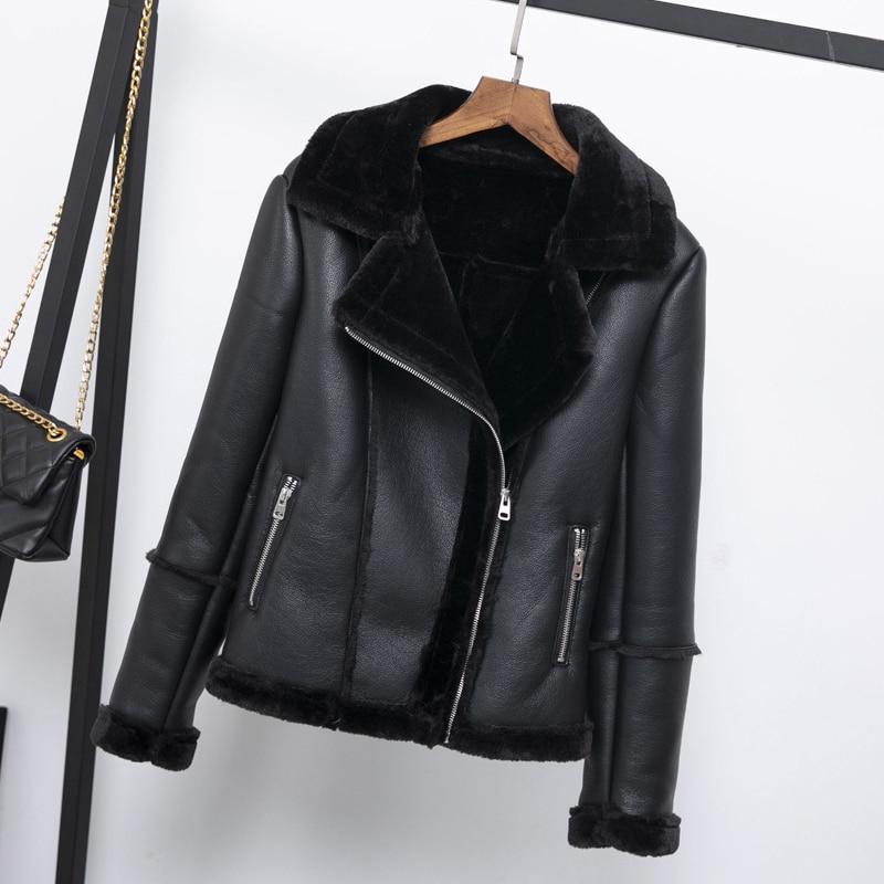 2019 New Female Warm Thick Outerwear Women Winter Faux Lamb   Leather   Jacket Black Pink Punk Lambs Wool Fur Collar Jacket