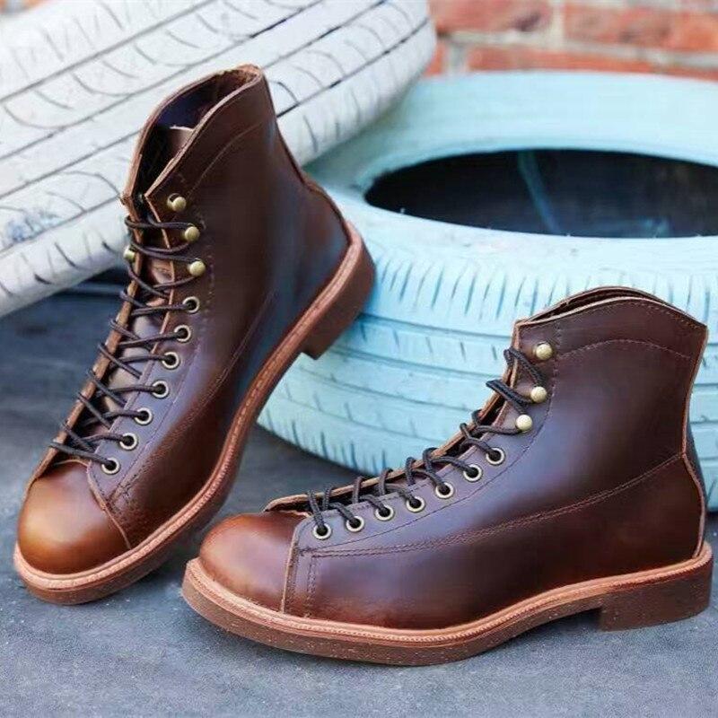 Genuino Brown Cuero Botas Mano Zapatos Alta De Británica Informales Rojas Tobillo Dark Invierno Calidad Otoño light Para A Grande Hechas Hombre Ala Talla Brown qtgxgfEwr