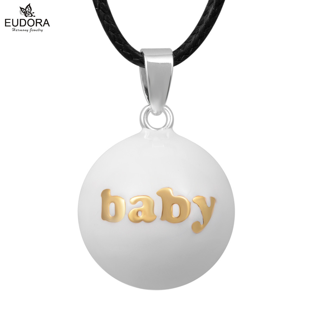 Eudora N14NB249 45 Copper Metal Baby Caller Pendant White Belly Bola Angel Caller Necklace Chime Ball Jewelry Gift