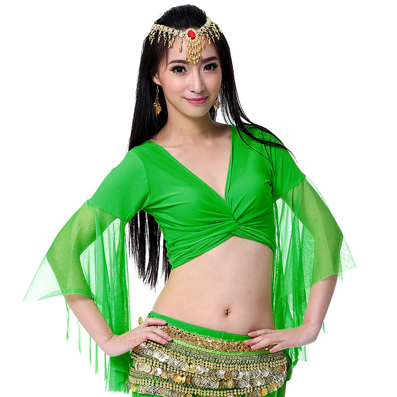 12 Colors Orient Belly Dance Clothing Practice Clothes Choli Flare Sleeve V Neck Women Dance Top For Bellydance