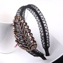 Lace Leaf Headbands Girl Luxury Rhinestone Bright Hairbands OL Fashion Luxury Crystal Hair Accessory Headwear Birthday Gift