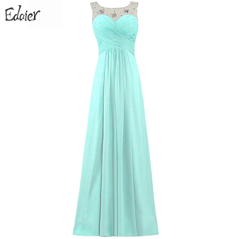 Elegant Bridesmaid Dresses 2017 A Line Scoop Cap Sleeve Crystal Lace Up Pink Purple Mint Green Chiffon Long Wedding Party Dress
