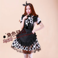 Country Women Cosplay Dress with Grid Patterns and Bowknot Patterns