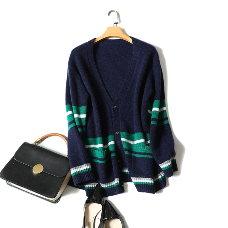 Thick Womens Sweater Cardigan Outwear Autumn Winter 100 Cashmere Cardigans Single Breasted Buttons Ladies Streetwear Pocket