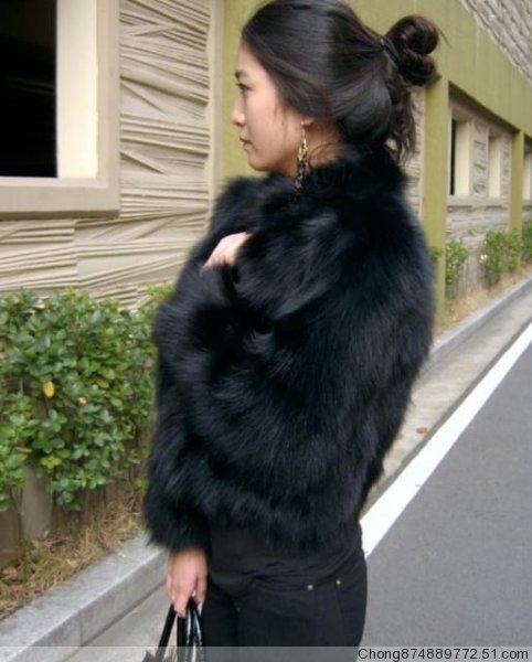 short outerwear raccoon fur coat
