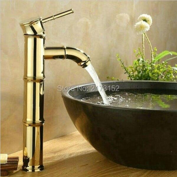 Bamboo Shape Gold Plated Tall Bathroom Faucet Royal Single Handle ...